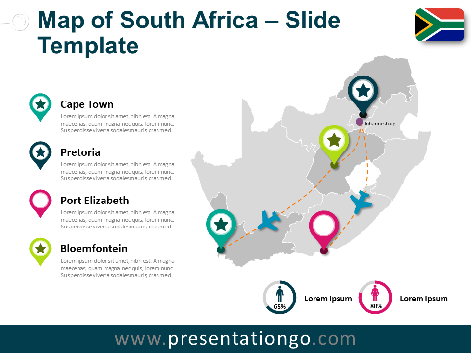 Free Map of South Africa for PowerPoint
