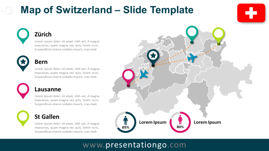 Free Map of Switzerland for PowerPoint and Google Slides