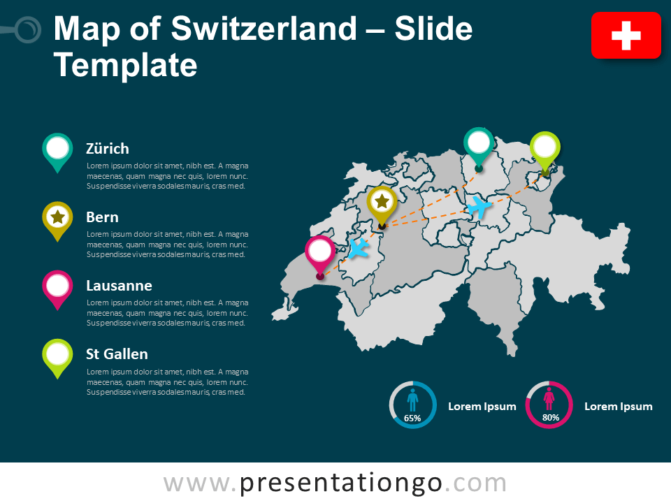 Free Map of Switzerland for PowerPoint