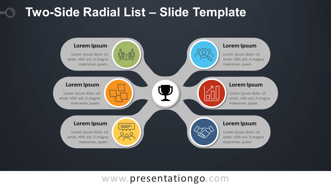Free Two-Side Radial List Diagram for PowerPoint and Google Slides