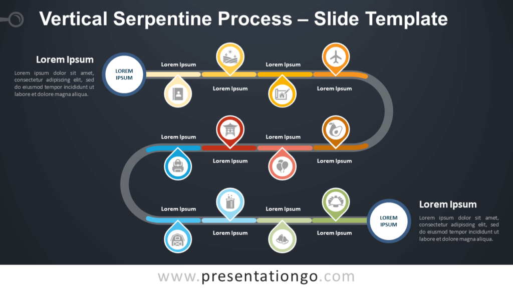 Free Vertical Serpentine Process Infographics for PowerPoint and Google Slides