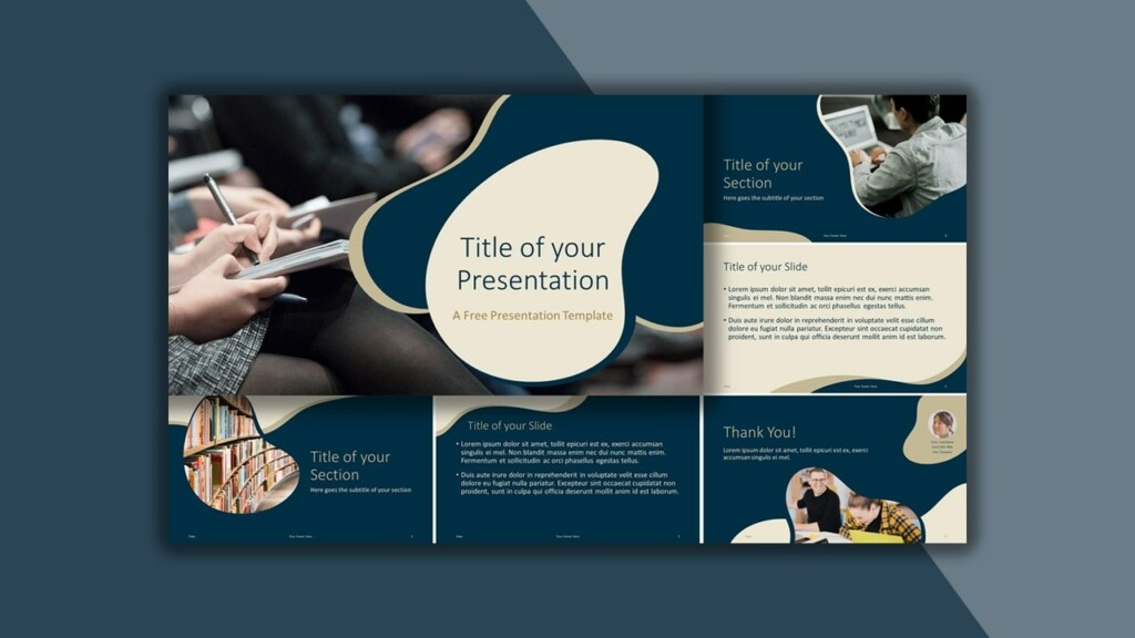 Free Royal Blue and Gold Google Slides Theme and PowerPoint Template