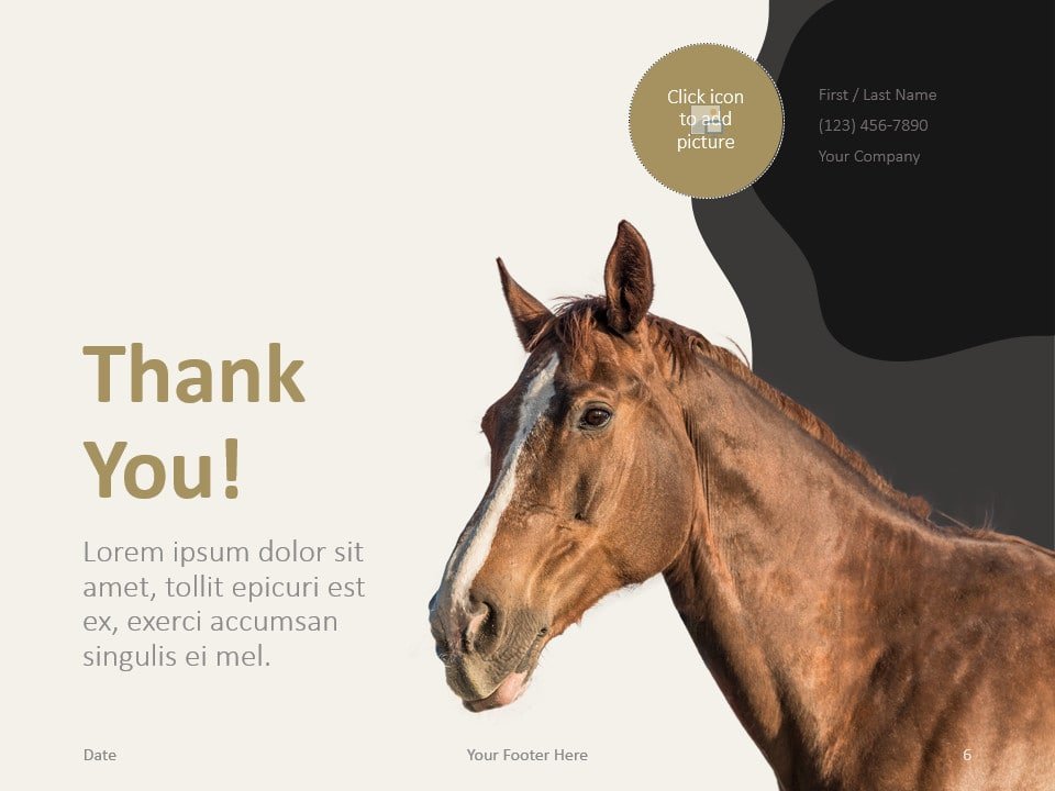 Free Horses Template for PowerPoint - Closing / Thank you