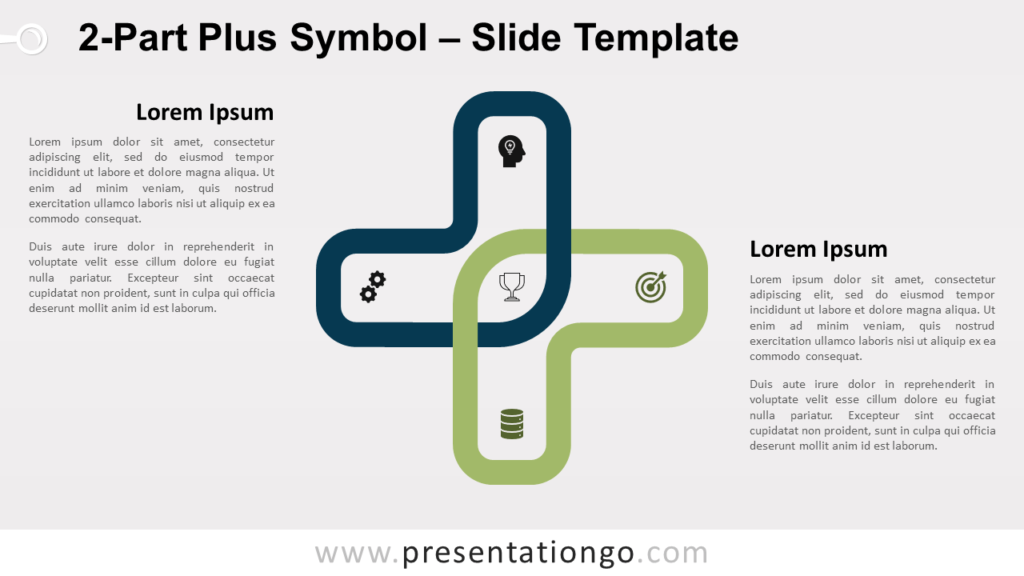 Free 2-Part Plus Symbol for PowerPoint and Google Slides