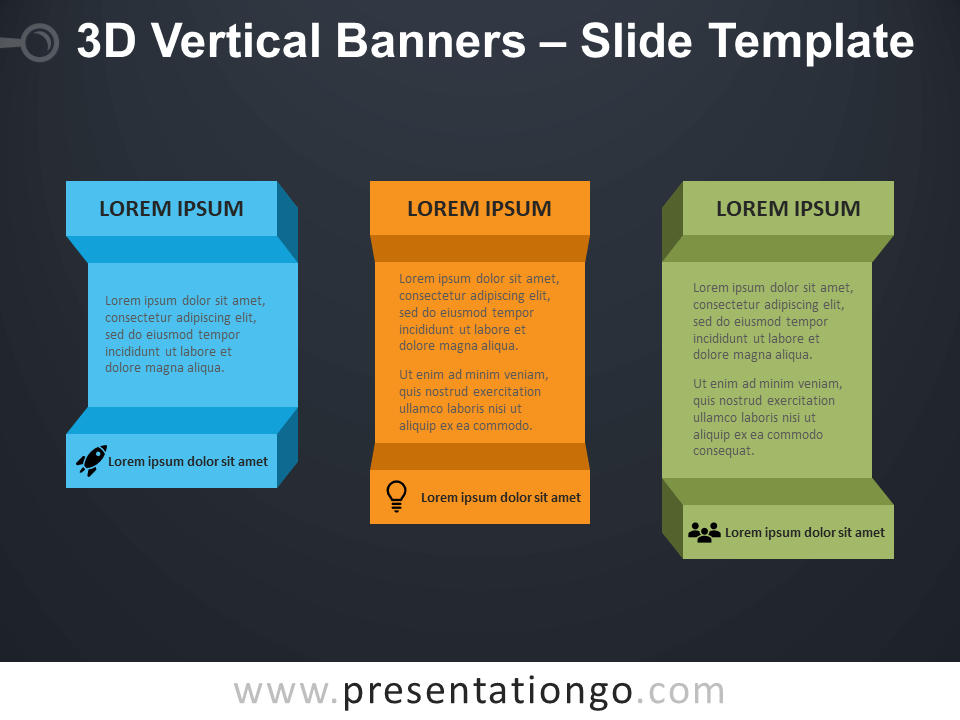 Free 3D Vertical Banners Infographic for PowerPoint