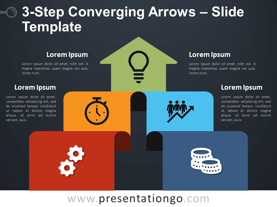 Free 3-Step Converging Arrows Diagram for PowerPoint