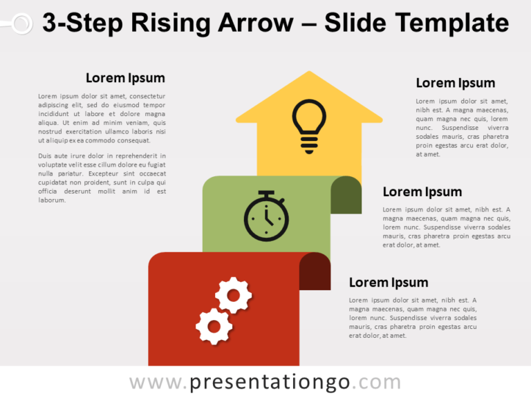 Free 3-Step Rising Arrow for PowerPoint