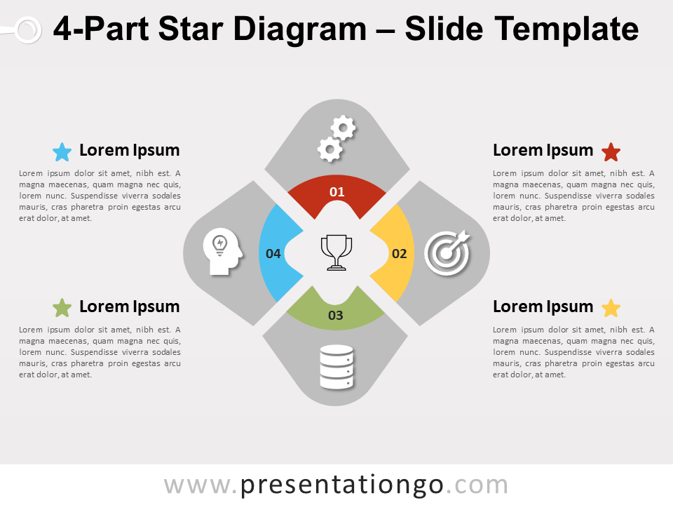 Free 4-Part Star Diagram for PowerPoint