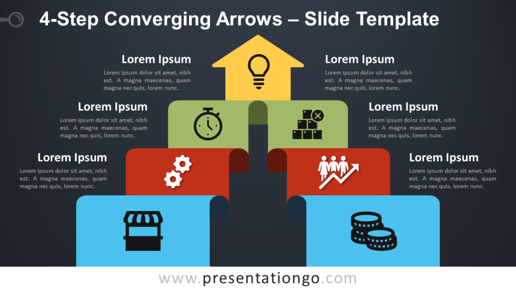 Free 4-Step Converging Arrows Diagram for PowerPoint and Google Slides