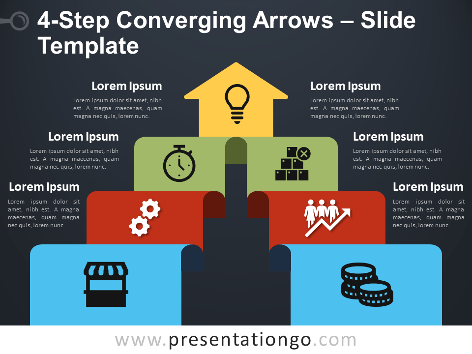 Free 4-Step Converging Arrows Diagram for PowerPoint