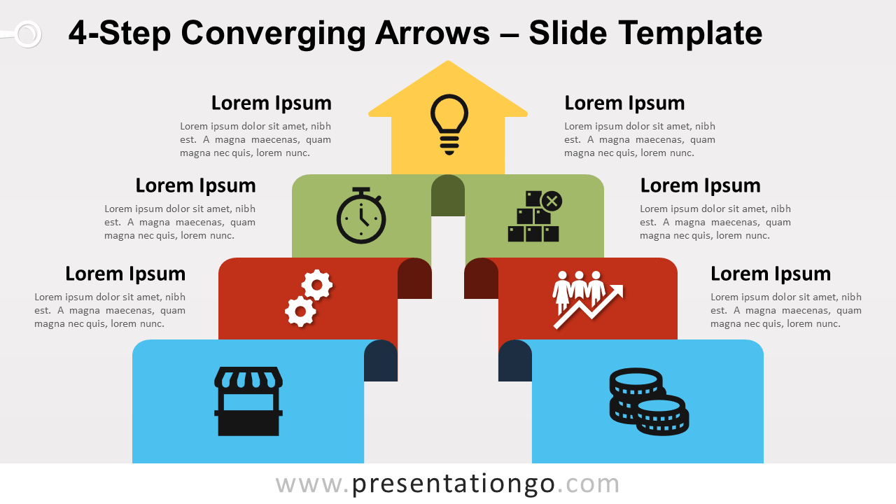 Free 4-Step Converging Arrows for PowerPoint and Google Slides
