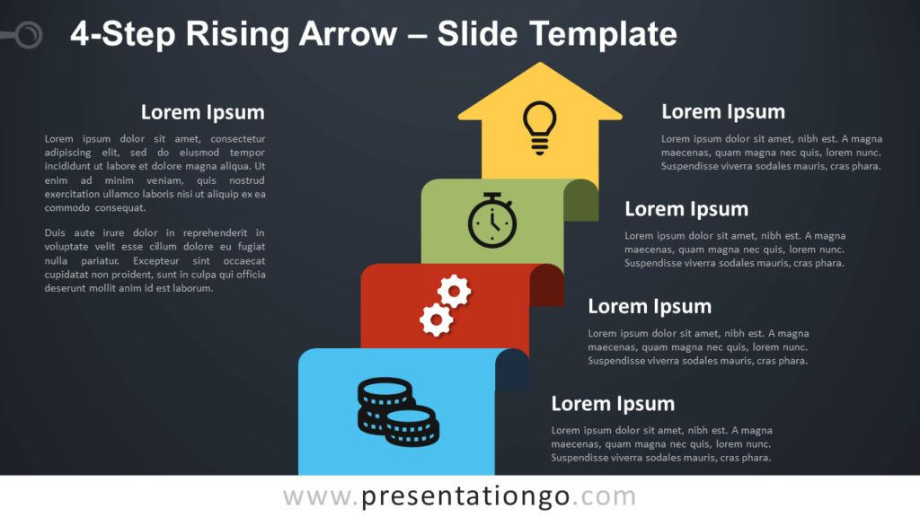 Free 4-Step Rising Arrow Diagram for PowerPoint and Google Slides