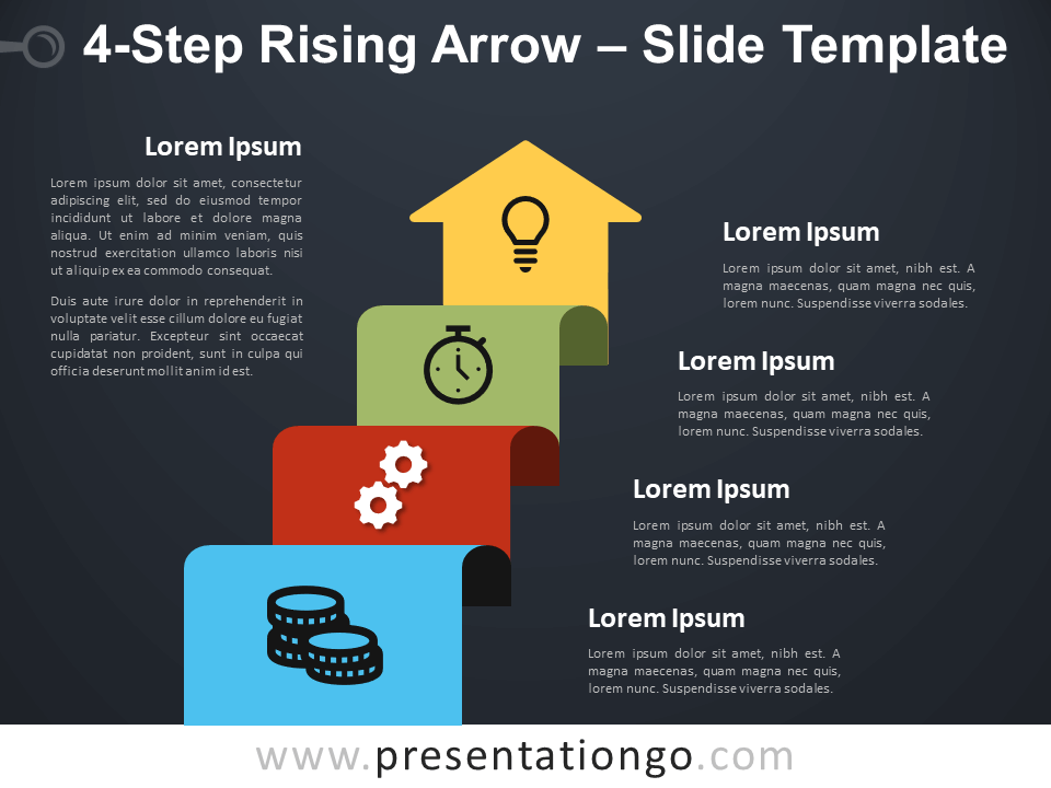 Free 4-Step Rising Arrow Diagram for PowerPoint