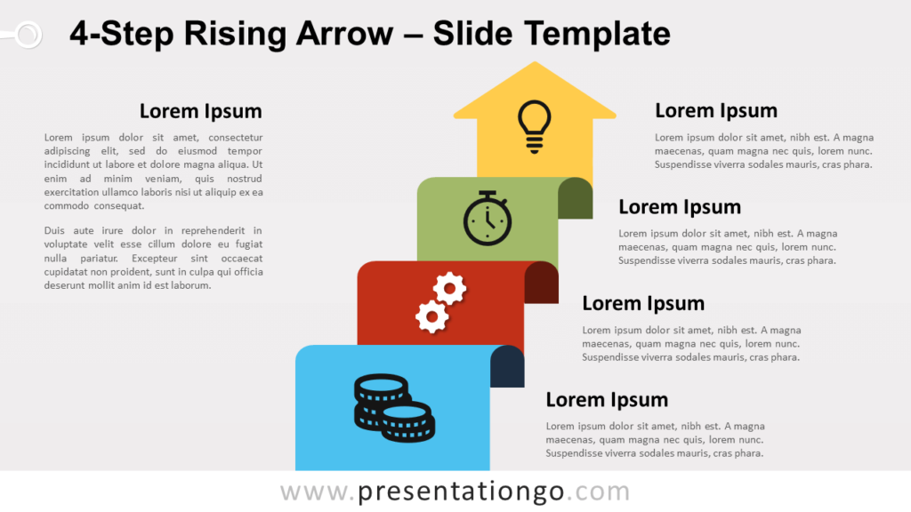 Free 4-Step Rising Arrow for PowerPoint and Google Slides