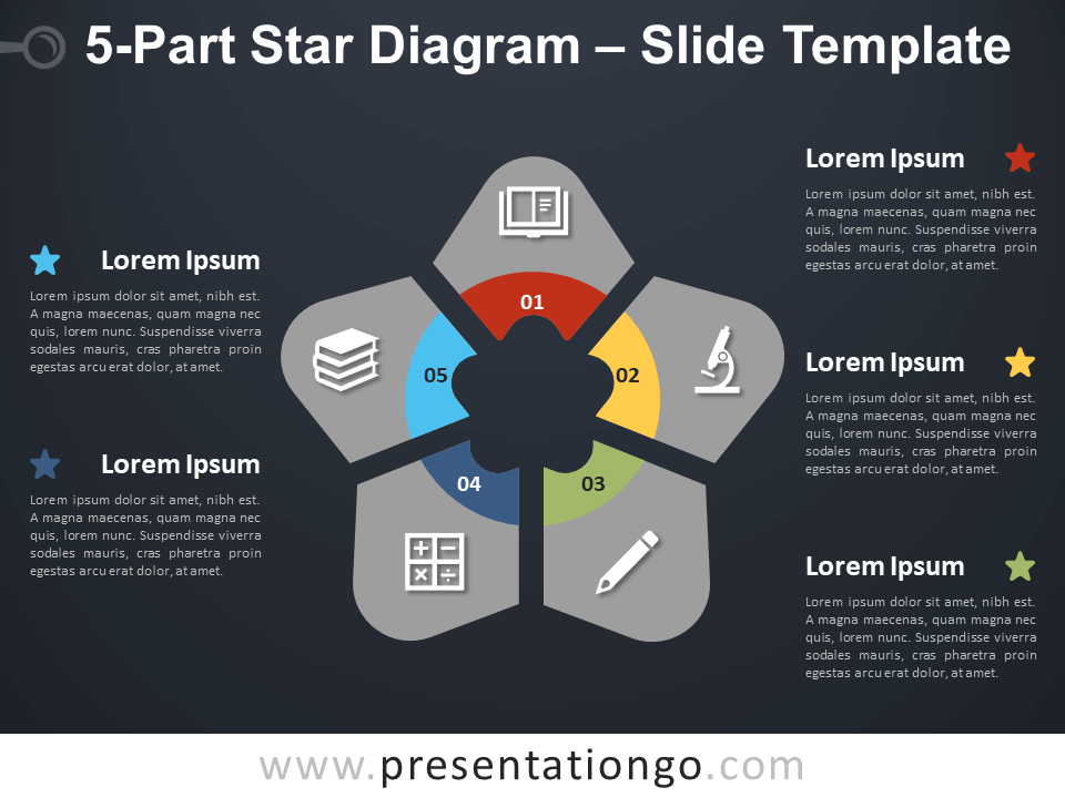 Free 5-Part Star Diagram Infographic for PowerPoint