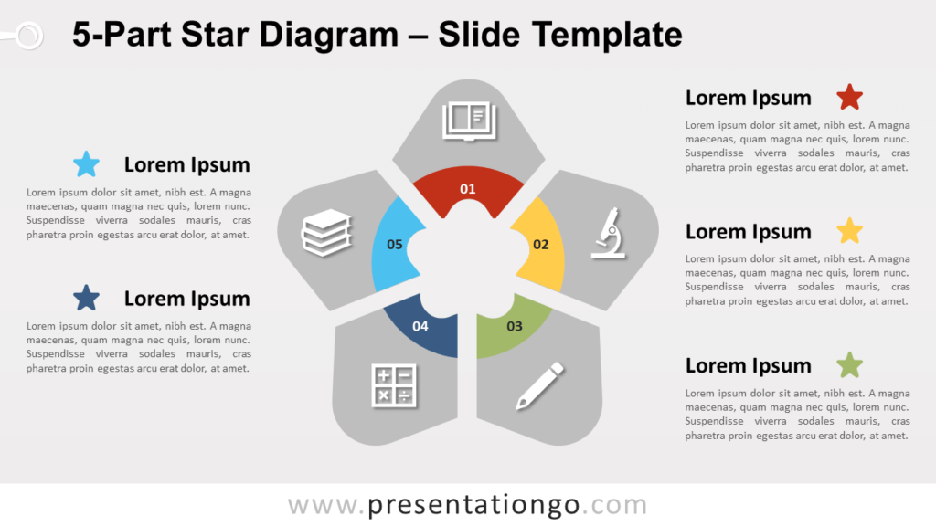 Free 5-Part Star Diagram for PowerPoint and Google Slides