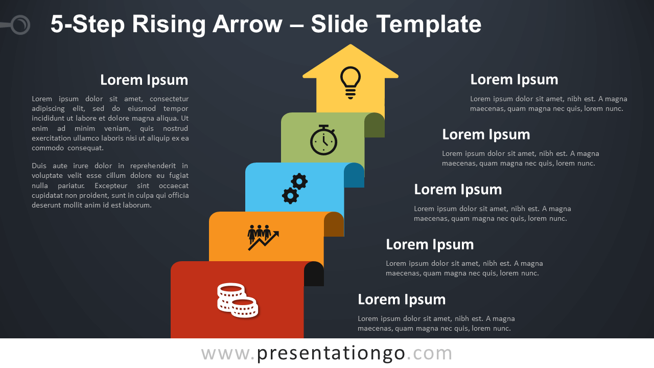 Free 5-Step Rising Arrow Diagram for PowerPoint and Google Slides