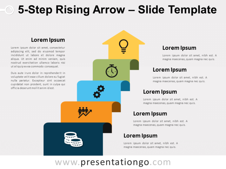 Free 5-Step Rising Arrow for PowerPoint