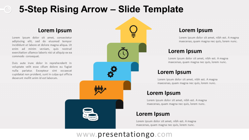 Free 5-Step Rising Arrow for PowerPoint and Google Slides