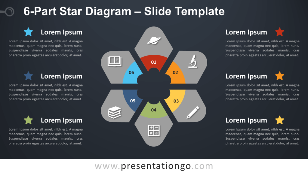 Free 6-Part Star Diagram Infographic for PowerPoint and Google Slides