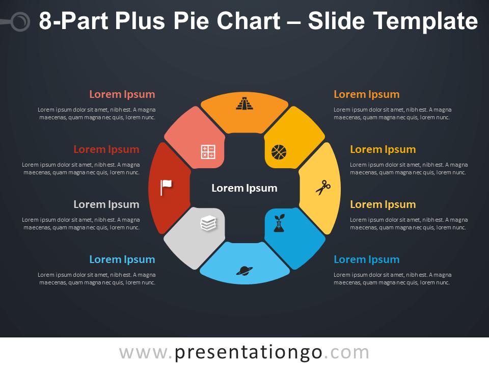 Free 8-Part Plus Pie Chart Diagram for PowerPoint