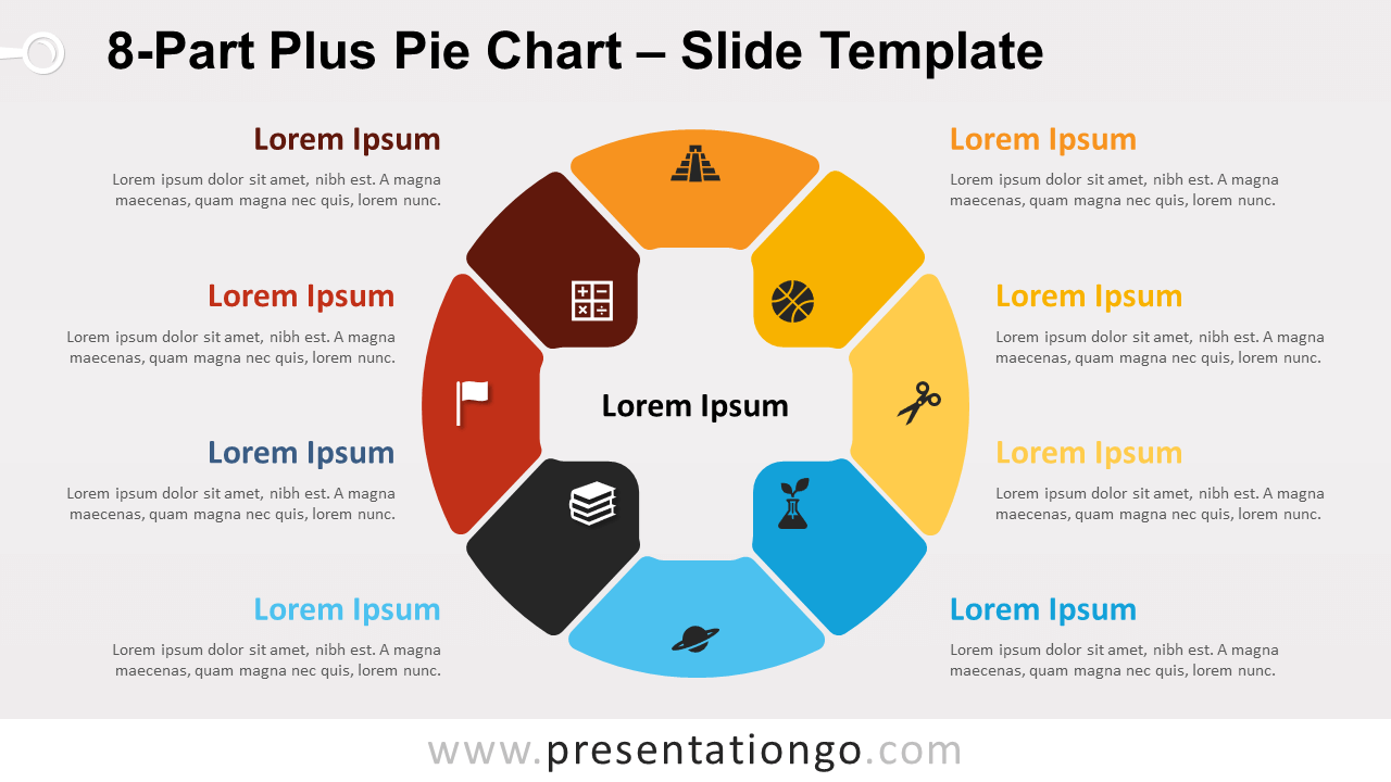 Free 8-Part Plus Pie Chart for PowerPoint and Google Slides
