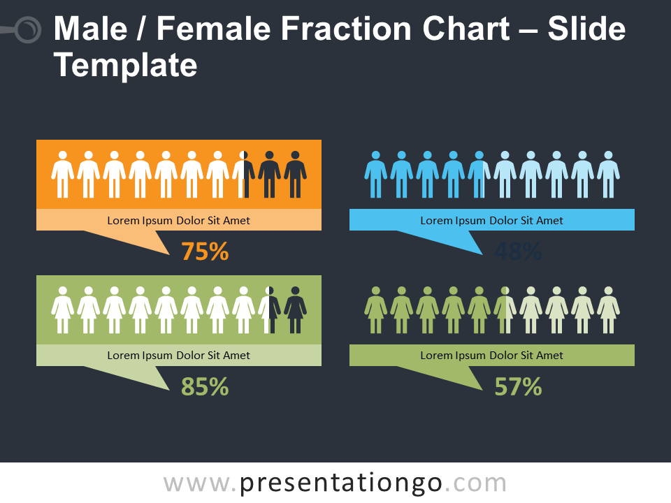 Free Male - Female Fraction Diagram for PowerPoint