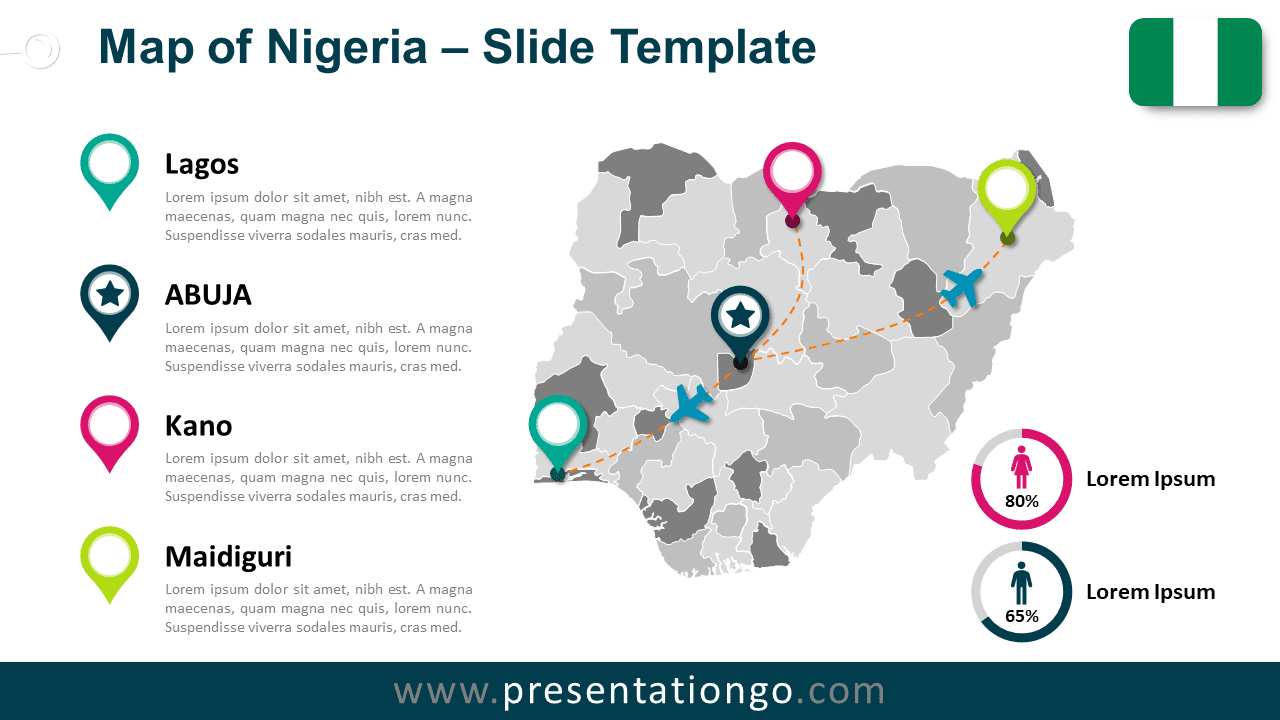 Free Map of Nigeria for PowerPoint and Google Slides