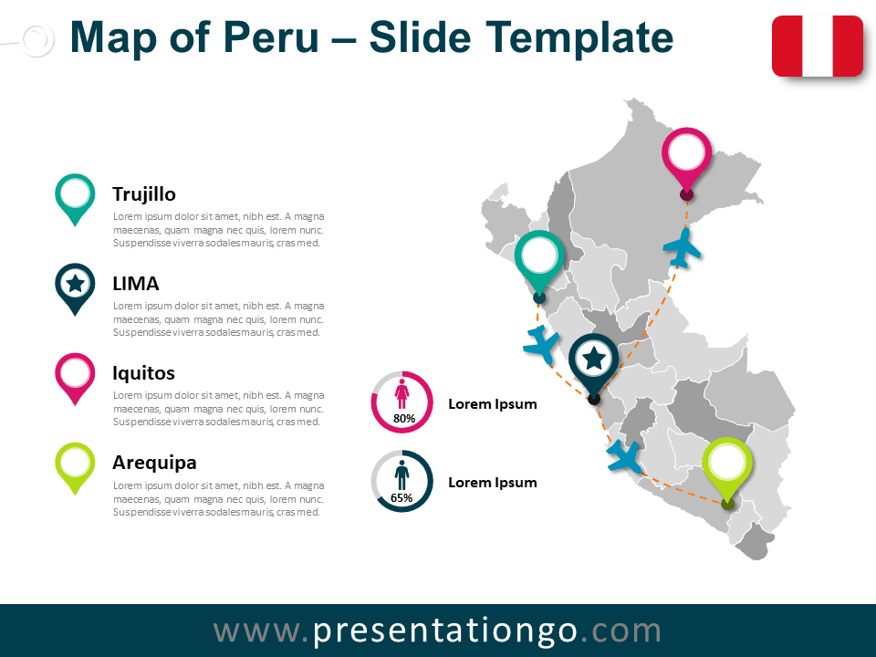Free Map of Peru for PowerPoint