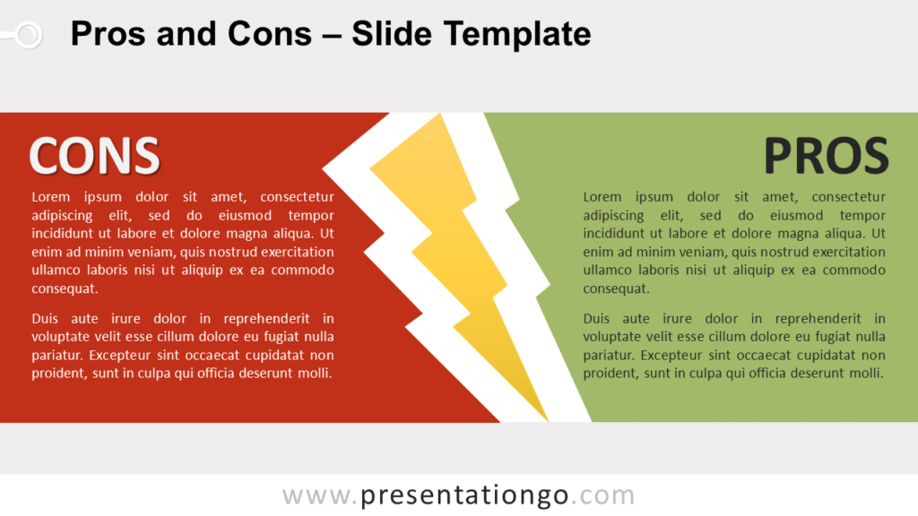 Free Pros and Cons for PowerPoint and Google Slides