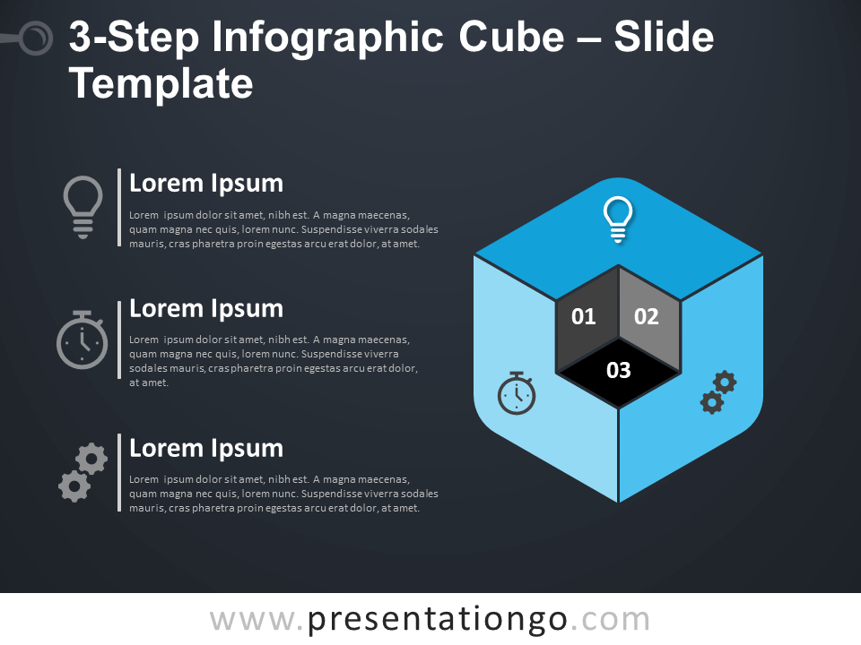 Free 3-Step Infographic Cube Diagram for PowerPoint