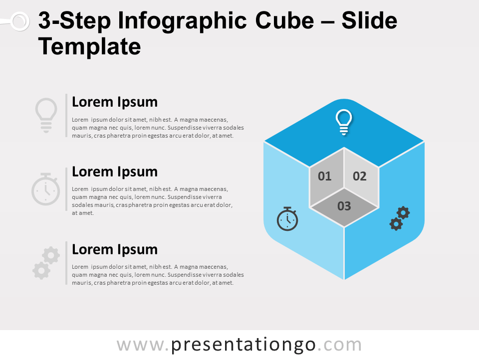 Free 3-Step Infographic Cube for PowerPoint