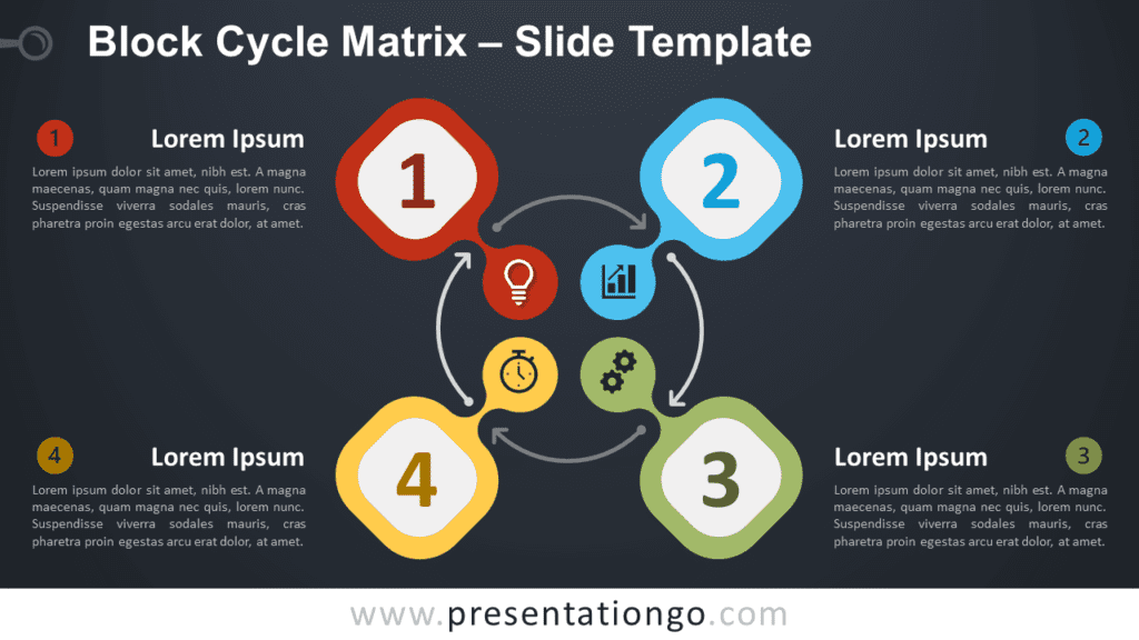 Free Block Cycle Matrix Diagram for PowerPoint and Google Slides