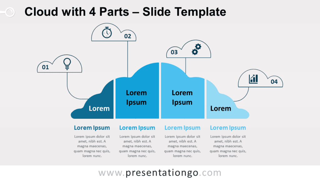 Free Cloud with 4 Parts for PowerPoint and Google Slides