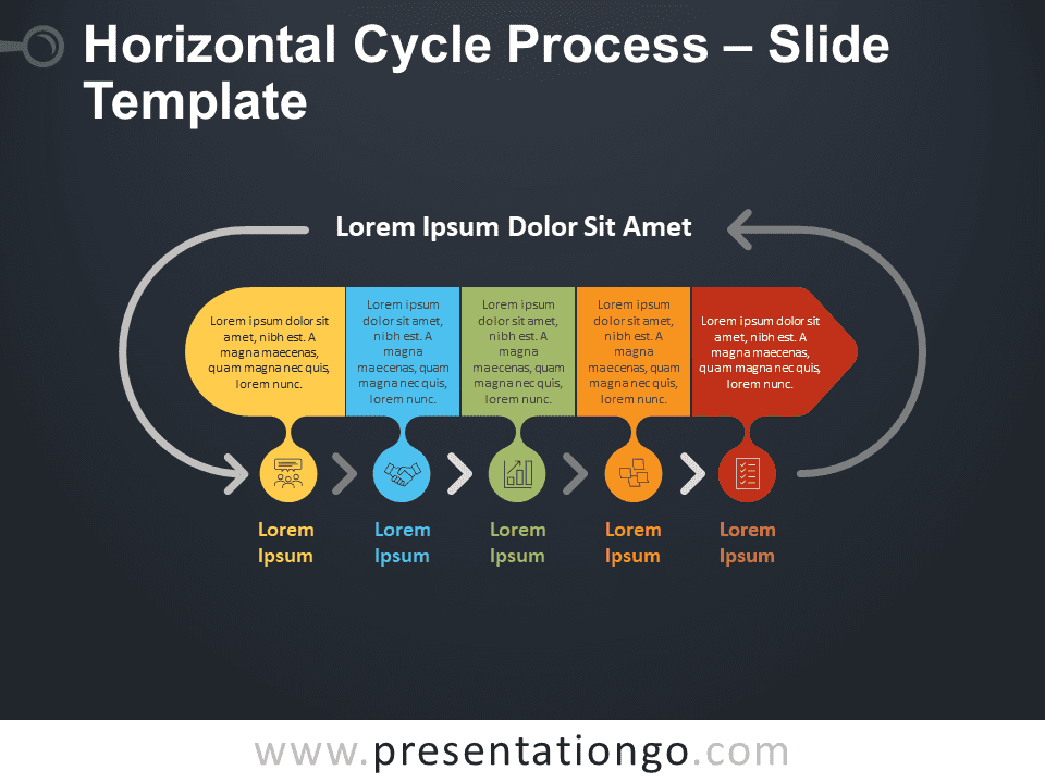 Free Horizontal Cycle Process Infographic for PowerPoint