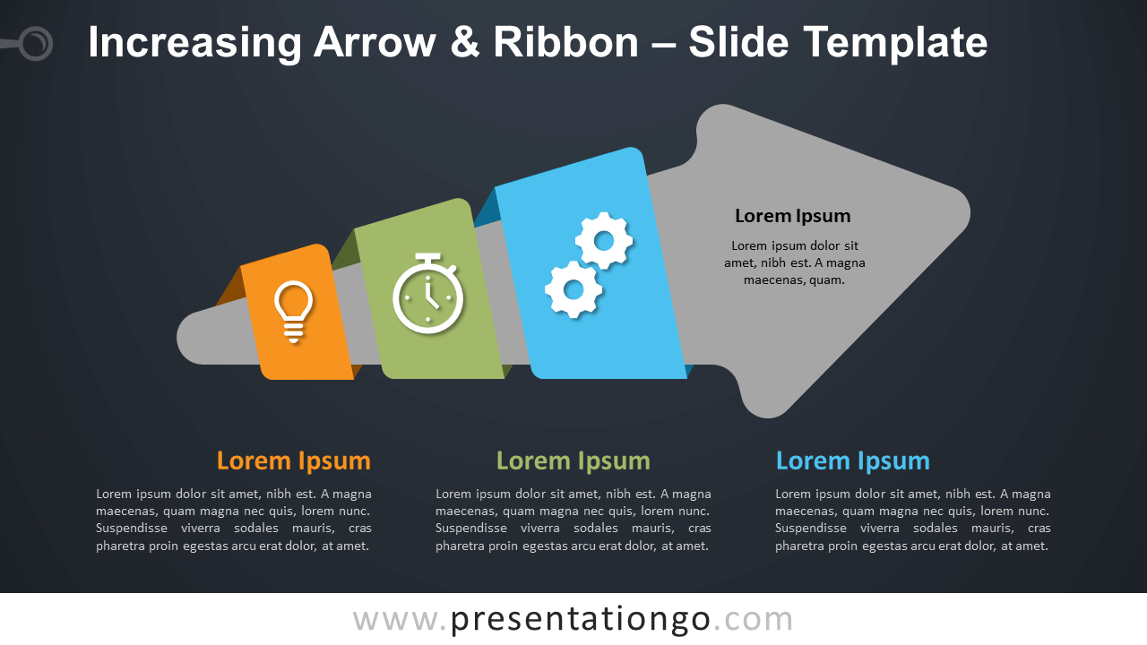 Free Increasing Arrow & Ribbon Diagram for PowerPoint and Google Slides