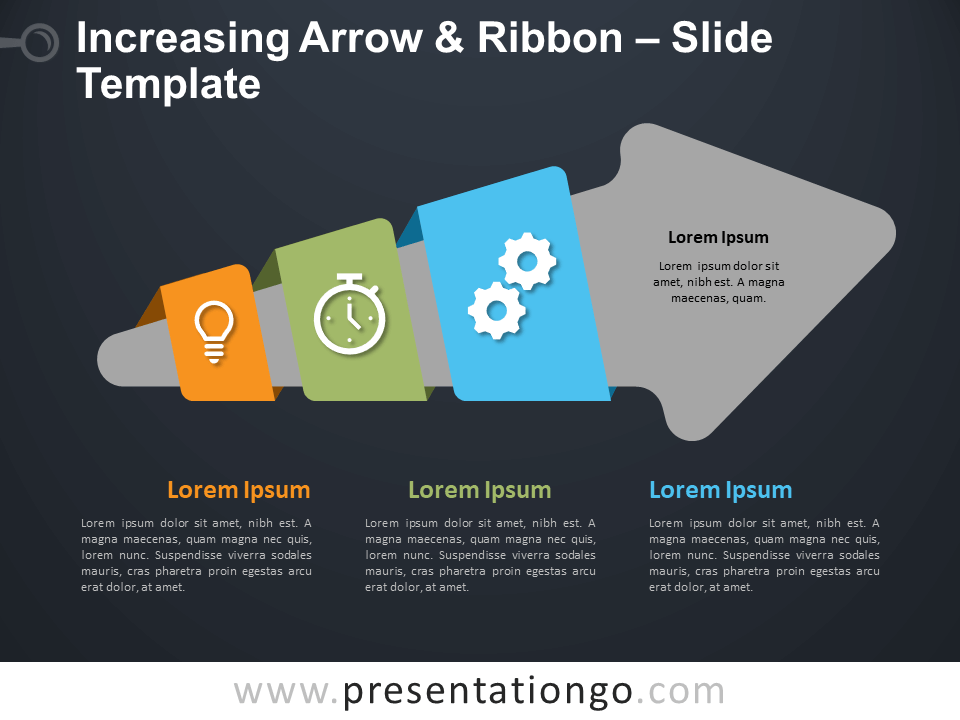 Free Increasing Arrow & Ribbon Diagram for PowerPoint