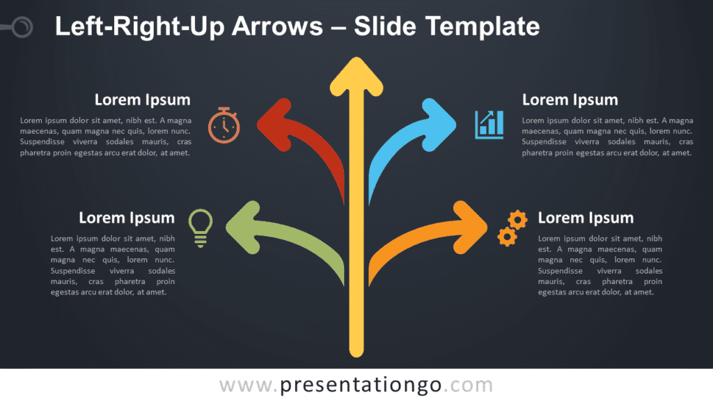 Free Left-Right-Up Arrows Diagram for PowerPoint and Google Slides