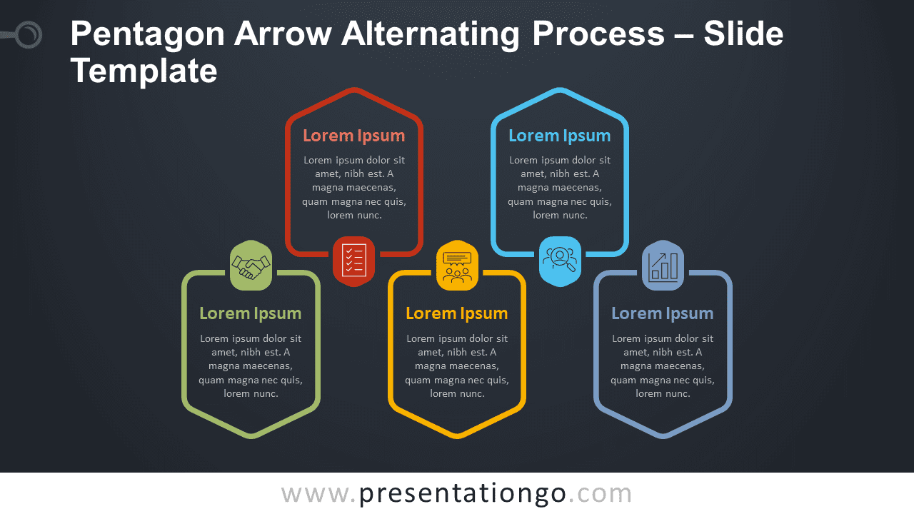 Free Pentagon Arrow Alternating Process Infographic for PowerPoint and Google Slides