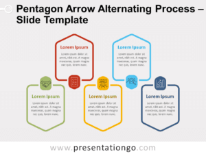 Free Pentagon Arrow Alternating Process for PowerPoint