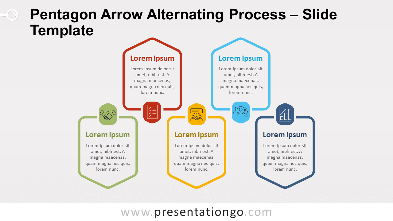 Free Pentagon Arrow Alternating Process for PowerPoint and Google Slides