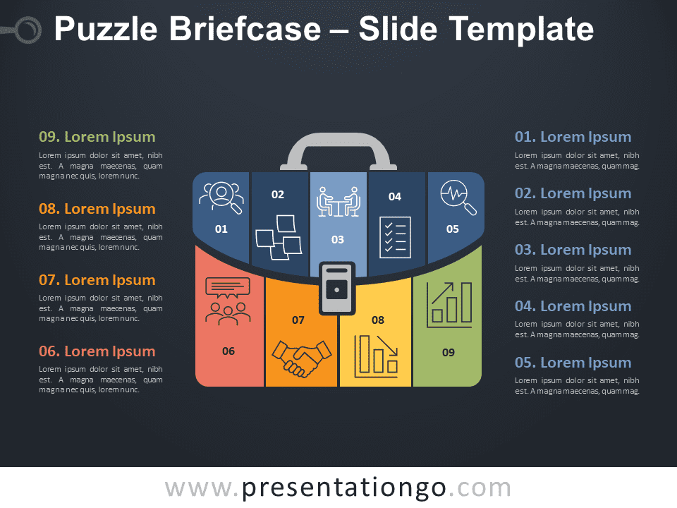 Free Puzzle Briefcase Infographic for PowerPoint