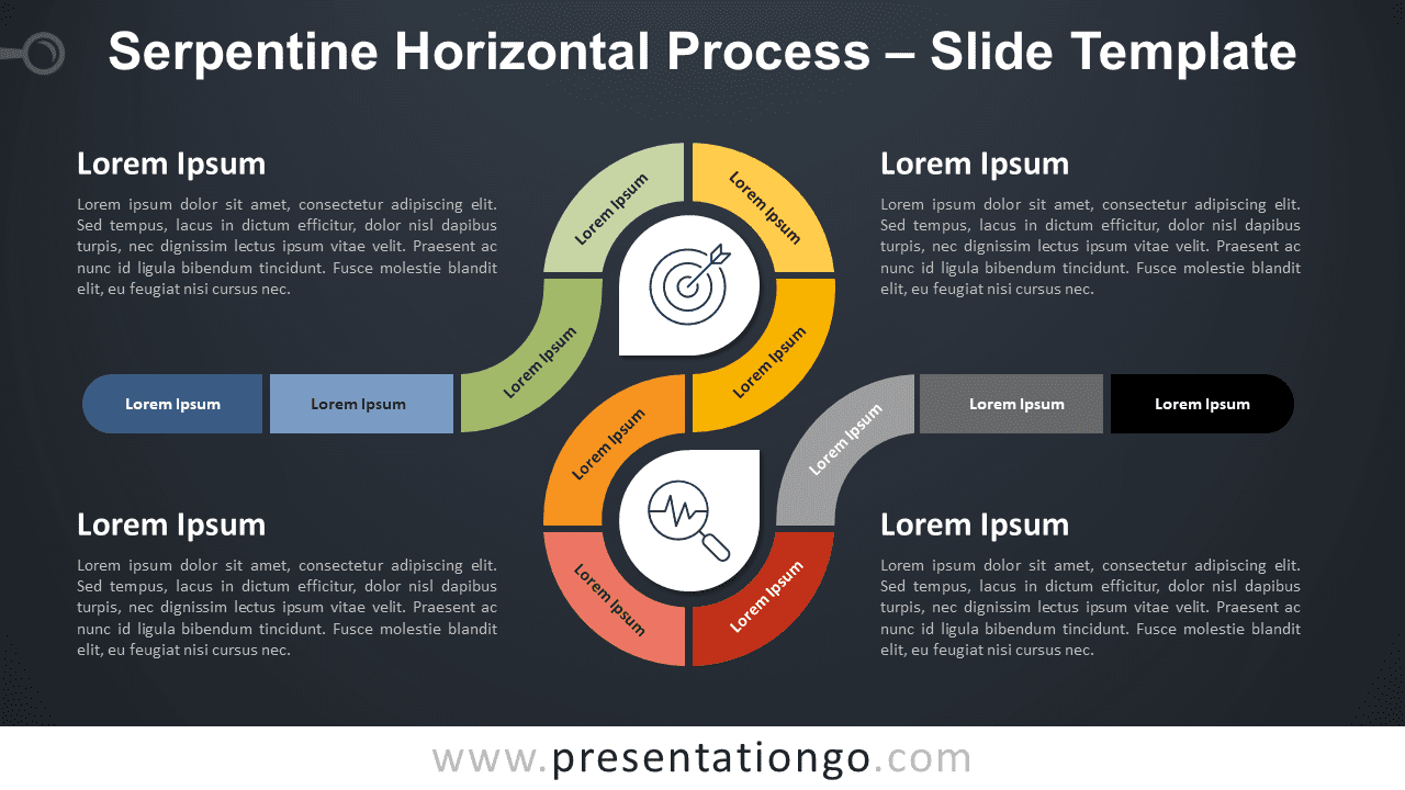 Free Serpentine Horizontal Process Infographic for PowerPoint and Google Slides
