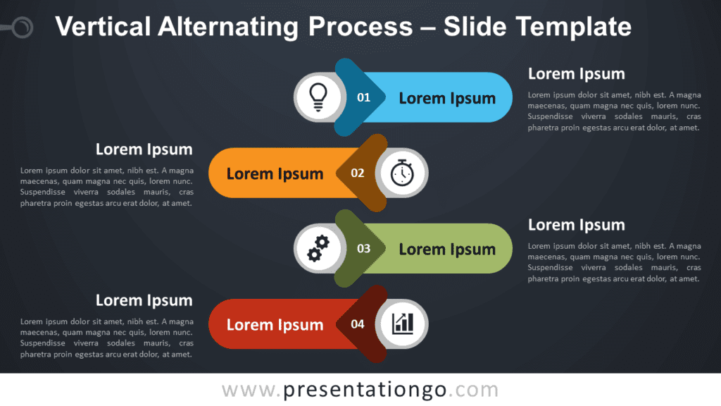 Free Vertical Alternating Process Infographic for PowerPoint and Google Slides