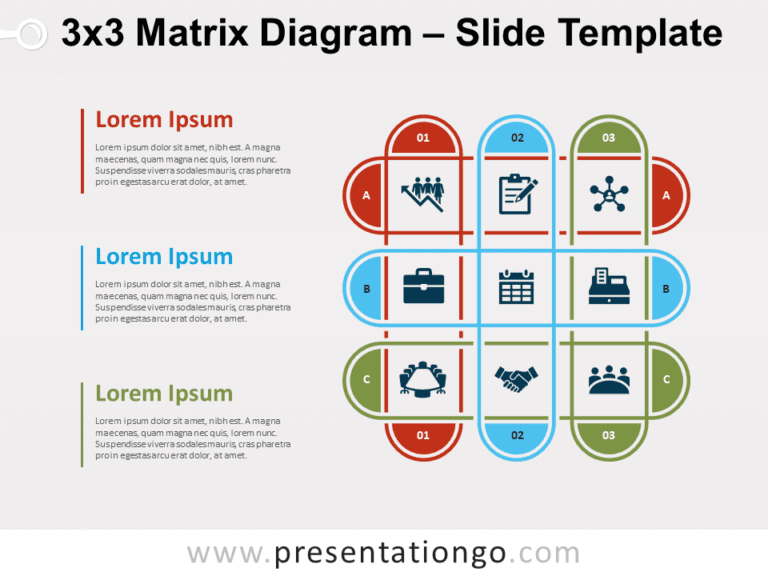 Free 3x3 Matrix Diagram for PowerPoint