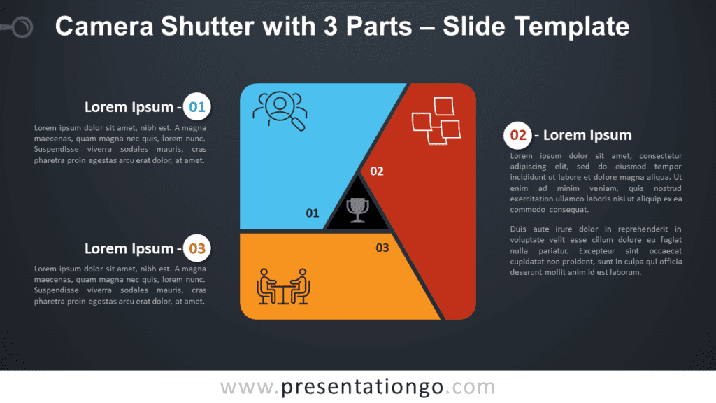 Free Camera Shutter with 3 Parts Diagram for PowerPoint and Google Slides