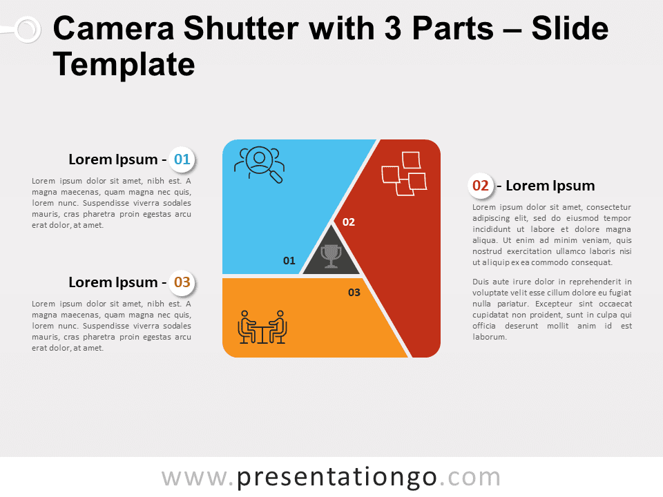 Free Camera Shutter with 3 Parts for PowerPoint