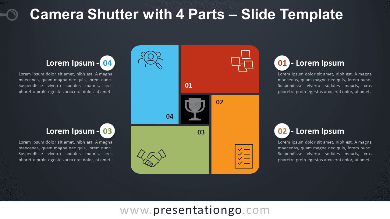 Free Camera Shutter with 4 Parts Diagram for PowerPoint and Google Slides