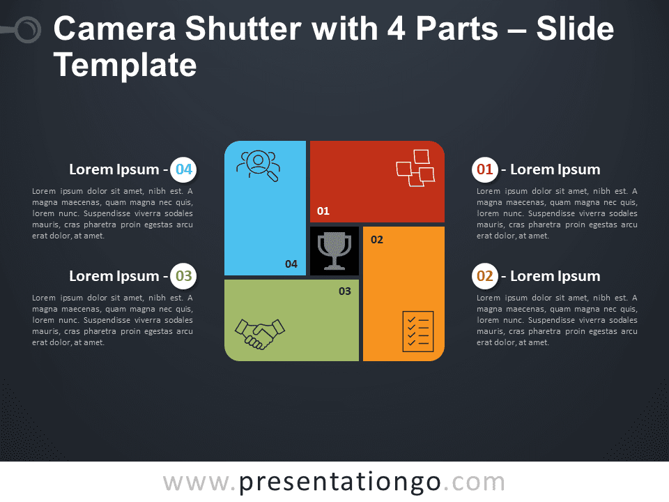 Free Camera Shutter with 4 Parts Diagram for PowerPoint