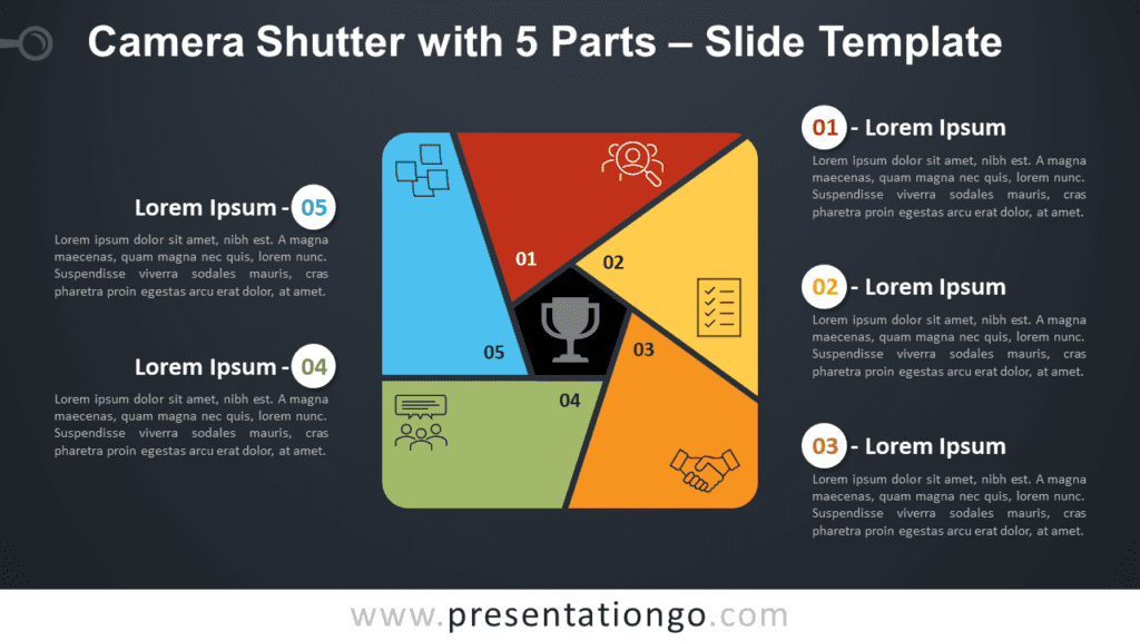 Free Camera Shutter with 5 Parts Diagram for PowerPoint and Google Slides